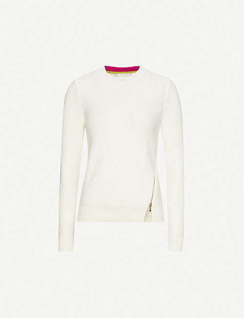 TED BAKER Kenala zip-detail knitted jumper