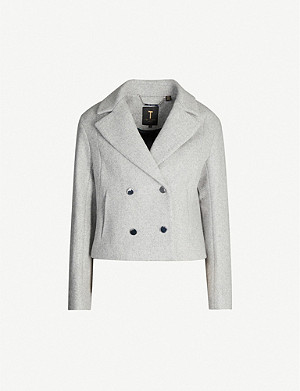 TED BAKER Agneta cropped double-breasted wool-blend jacket