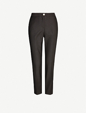 TED BAKER Metallic-pattern high-rise tapered woven trousers