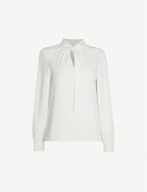 TED BAKER Pammla gathered tie-neck crepe blouse