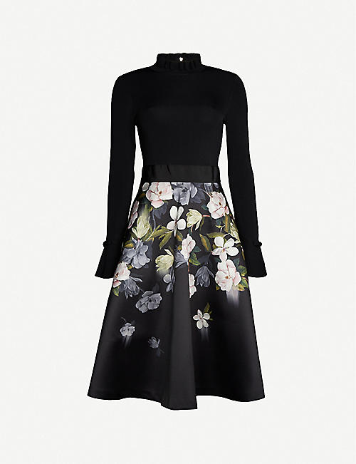 TED BAKER Nerida floral-print knitted and satin-twill midi dress