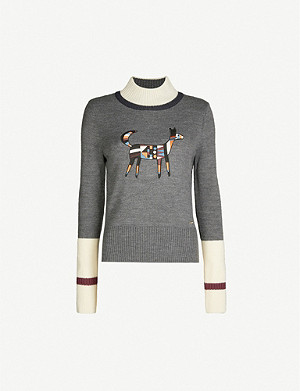 TED BAKER Colour by Numbers appliqu?d wool-blend jumper