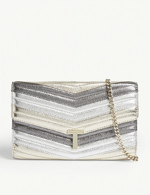 TED BAKER Jasicca T logo metallic leather clutch