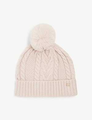 TED BAKER Ynuta faux-fur pom pom cable knit hat