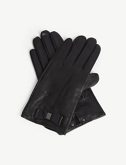 TED BAKER: Bblake leather bow detail gloves