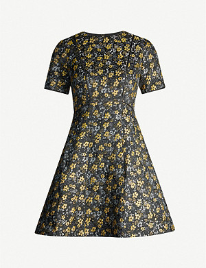 TED BAKER Floral-print woven jacquard mini dress