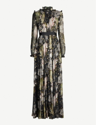 TED BAKER Hunnie graphic-print crepe maxi dress