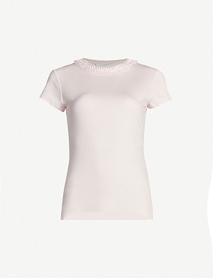 TED BAKER Jacci frilled-neck jersey T-shirt