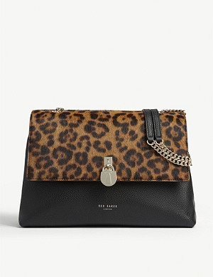 TED BAKER Cliarra leopard print leather shoulder bag