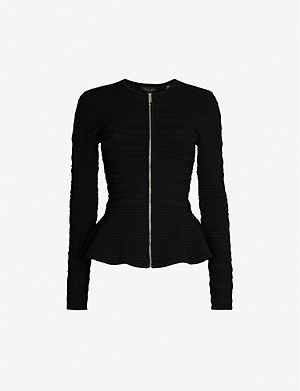 TED BAKER Peplum zip-through crepe cardigan