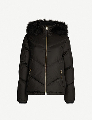 TED BAKER Lavenia faux-fur-trim padded shell-down jacket
