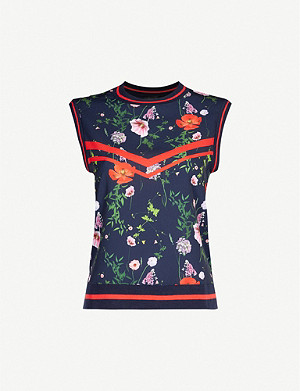 TED BAKER Namib Hedgerow-print crepe and stretch-knit top