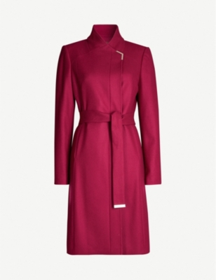 TED BAKER Metallic-trim wool-blend coat