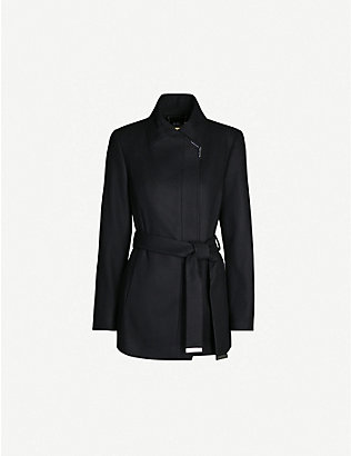 TED BAKER: Waterfall-collar wool and cashmere-blend coat