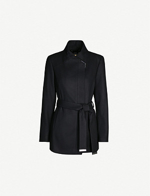 TED BAKER Waterfall-collar wool and cashmere-blend coat