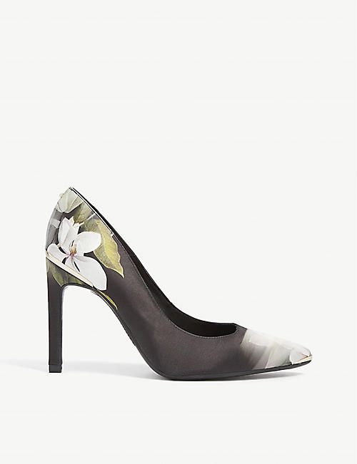 TED BAKER Melnip floral satin leather court shoes