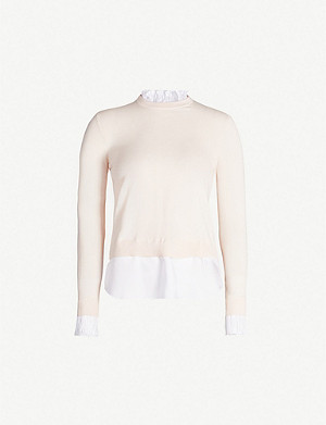 TED BAKER Contrast frill-detail cotton-blend jumper