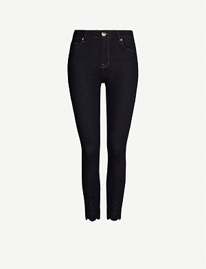 TED BAKER Yesenia embroidered stretch-denim jeans