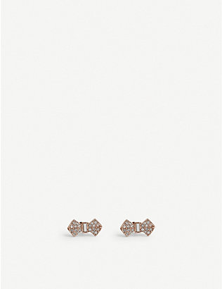 TED BAKER: Sersi crystal bow earrings