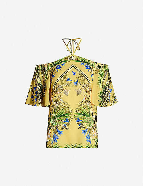TED BAKER Royal Palm off-the-shoulder halter-neck crepe top