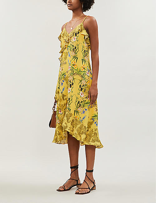 TED BAKER Royal Palm ruffled crepe midi dress