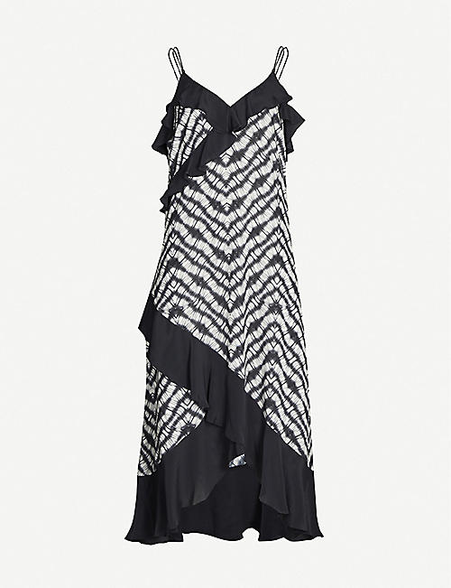TED BAKER Ruffled graphic-pattern crepe midi dress