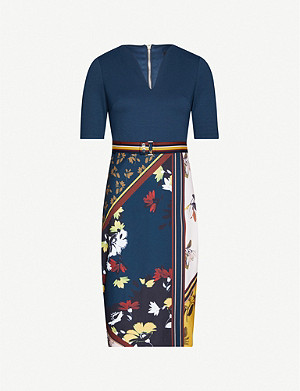 TED BAKER Madiiy bodycon crepe midi dress