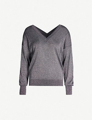 TED BAKER V-neck metallic knitted jumper