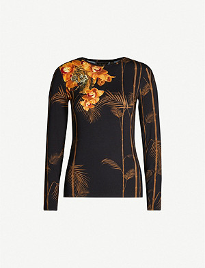 TED BAKER Tropical-print jersey top