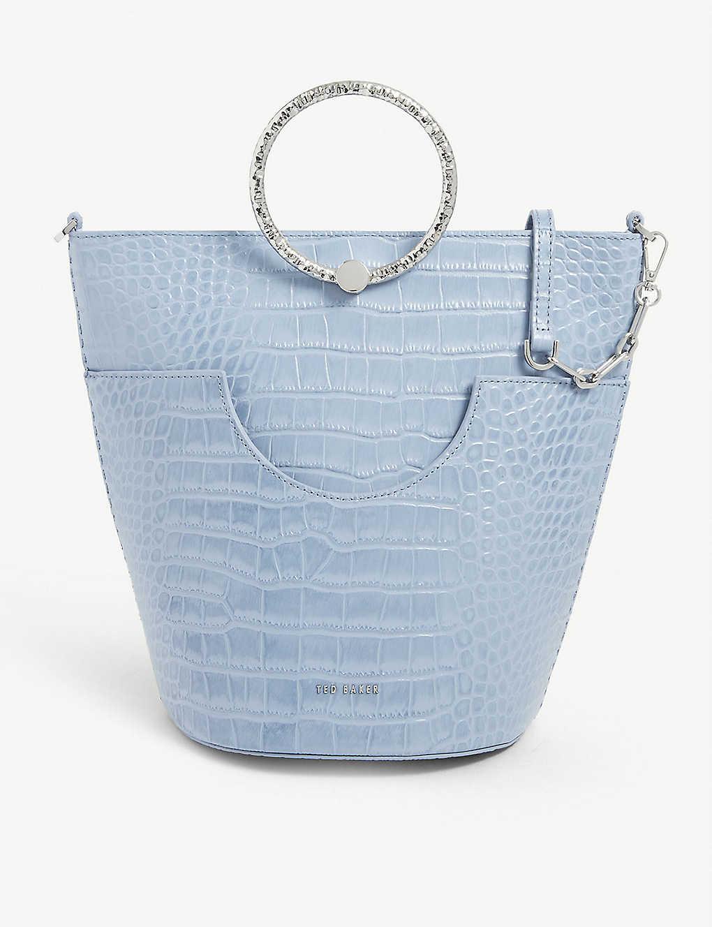 TED BAKER: Leather circular handle bucket bag