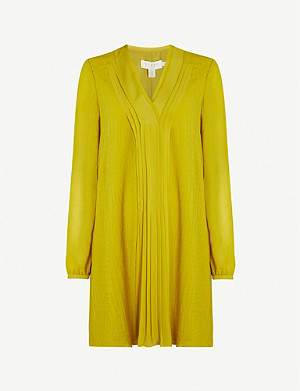 TED BAKER Pleated-panel croc-style crepe dress