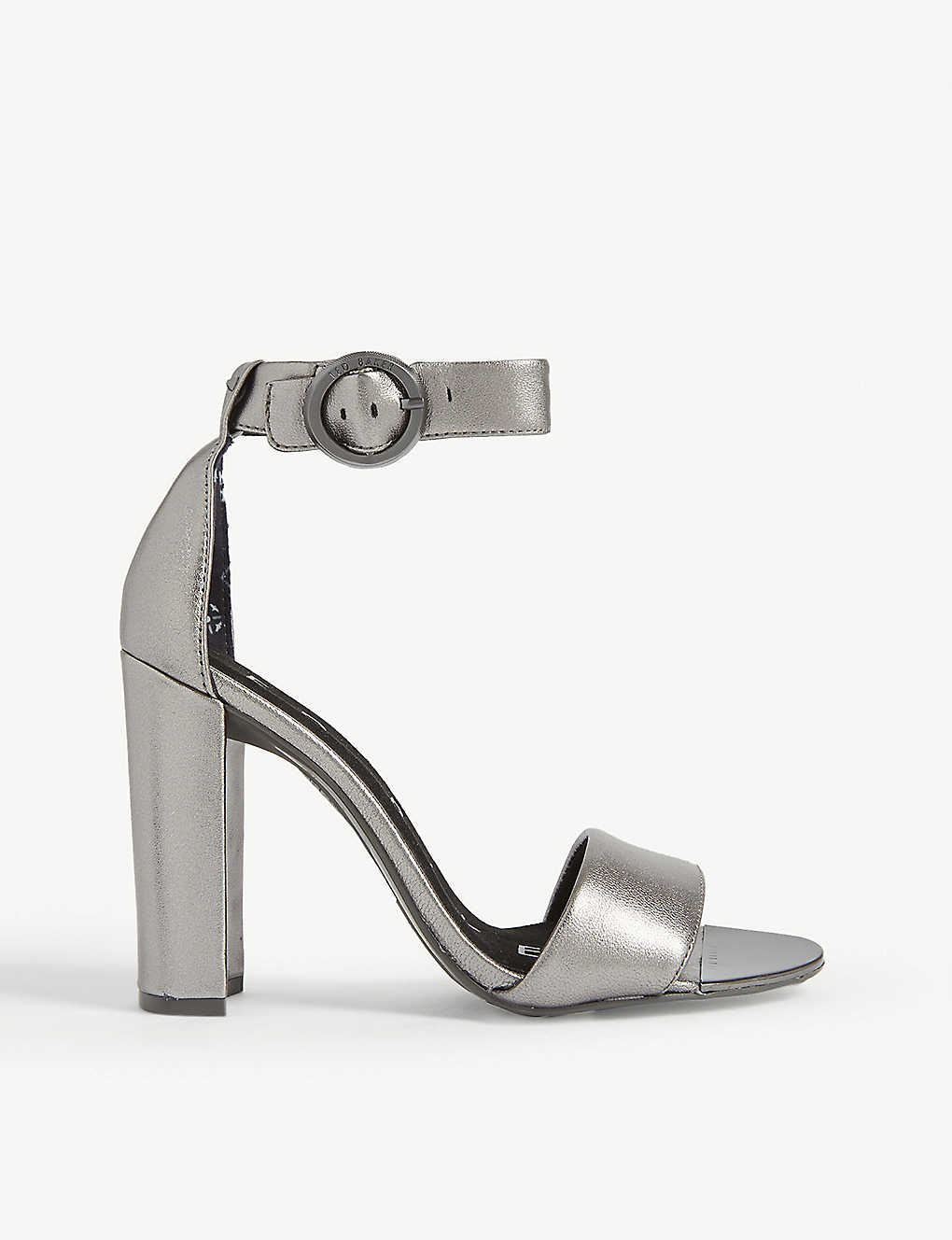 TED BAKER: Secataa metallic leather heeled sandals