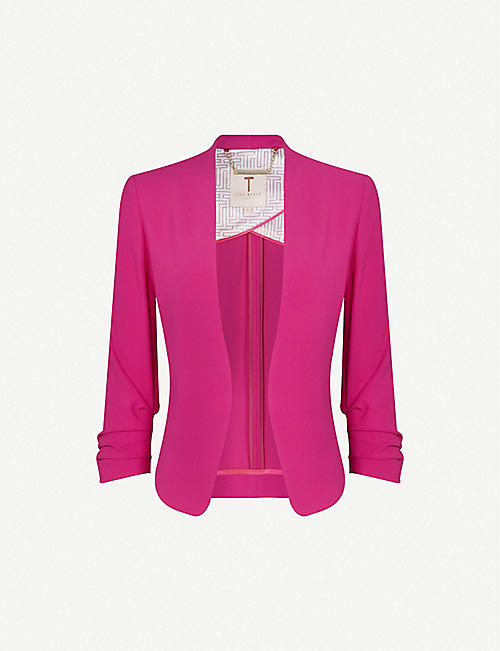 TED BAKER: Cropped-sleeve crepe jacket