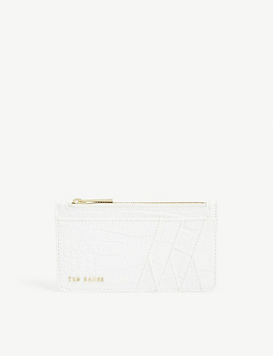 TED BAKER Croc-embossed leather card case