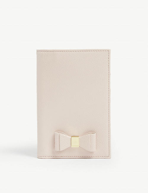 TED BAKER Hanaahh bow detail leather passport cover