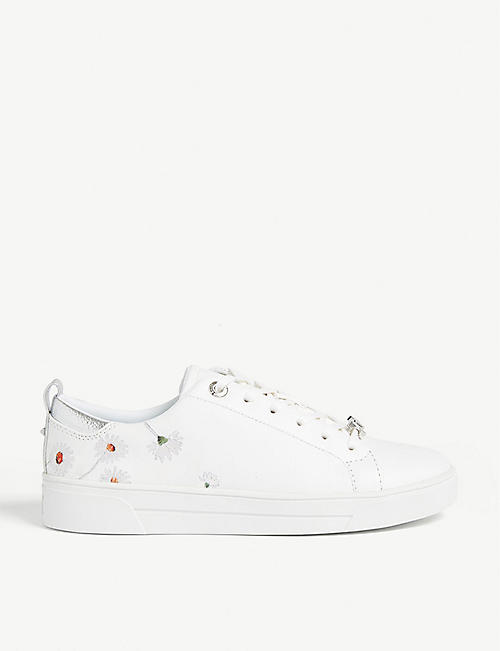 TED BAKER Embroidered tennis trainers