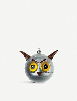 ALESSI: Uffoguffo glass owl Christmas bauble