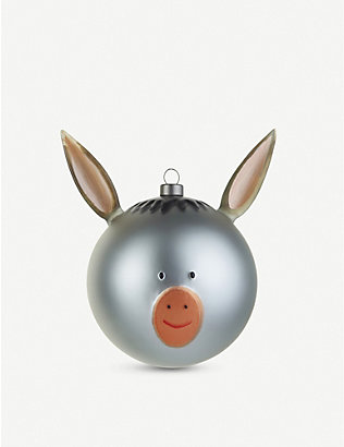 ALESSI: Asinello Christmas donkey glass bauble 13.5cm