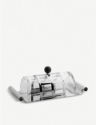 ALESSI: Grid crystal and stainless steel butter dish