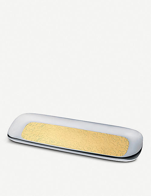 ALESSI: Dressed 24-carat gold-plated stainless steel rectangle tray 62cm x 20cm