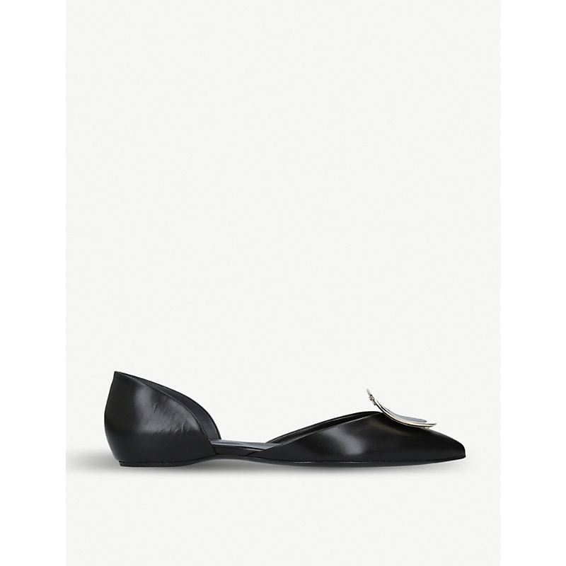 ROGER VIVIER | D'Orsay Choc Leather Ballerina Flats | Goxip