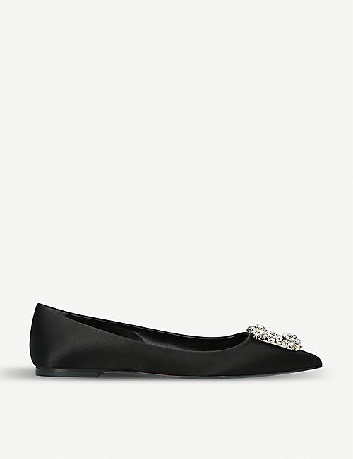 ROGER VIVIER: Flower Strass buckle satin ballerina shoes