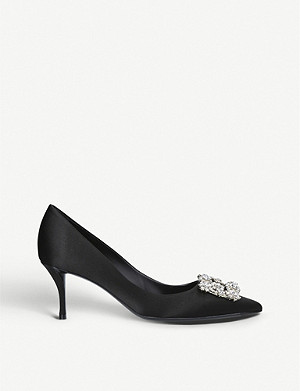 ROGER VIVIER Flower Strass crystal-embellished silk courts