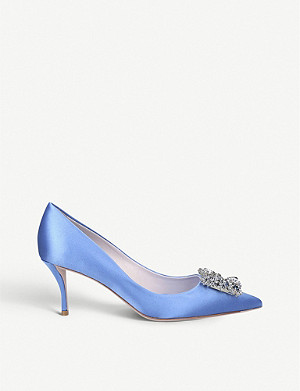 ROGER VIVIER Flower buckle-embellished satin courts