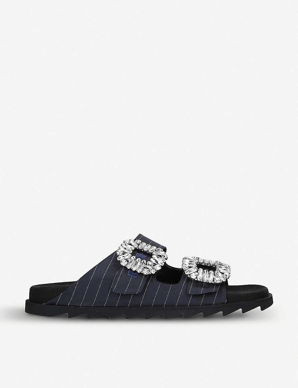 Roger Vivier Slippers Slidy Viv Strass buckle crystal-embellished and striped leather sliders