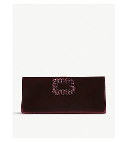 ... ROGER VIVIER Pilgrim crystal-embellished velvet clutch bag (Red other.  PreviousNext a0576b43ca922