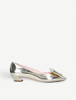 ROGER VIVIER Gomette buckle metallic-leather courts