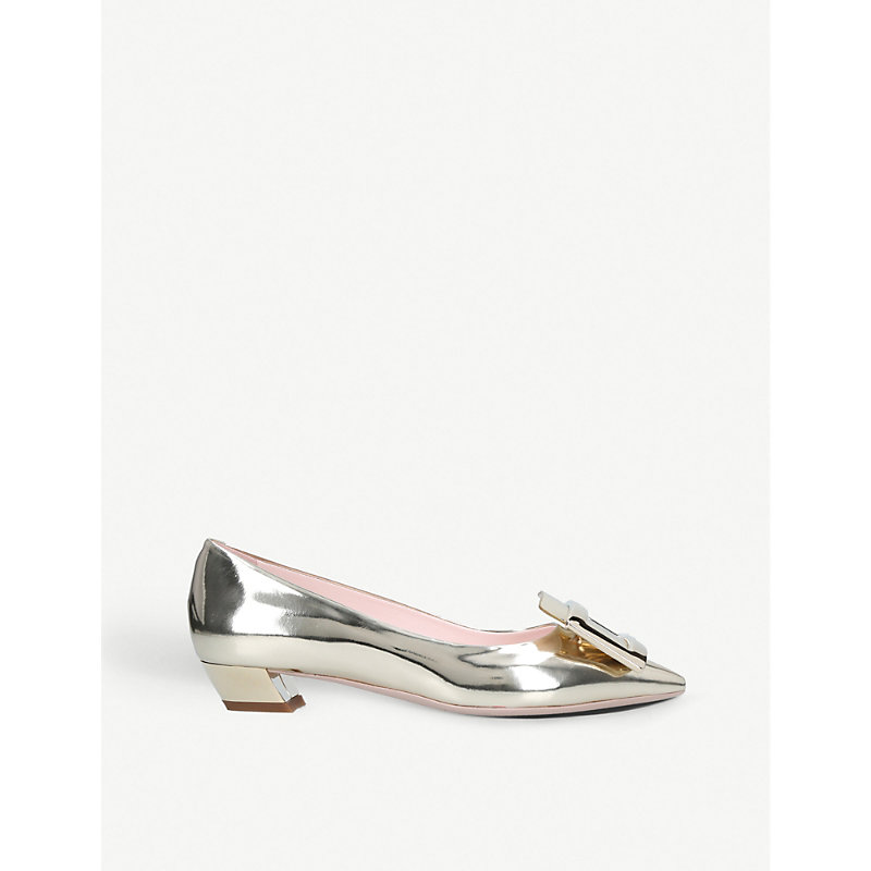ROGER VIVIER | Gomette Buckle Metallic-Leather Courts | Goxip