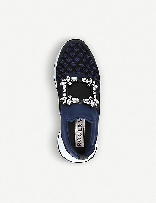 ROGER VIVIER Viv' Run strass-embellished scuba and leather trainers