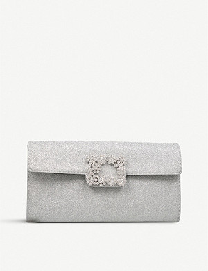 ROGER VIVIER Flower diamante-embellished buckle glitter envelope clutch